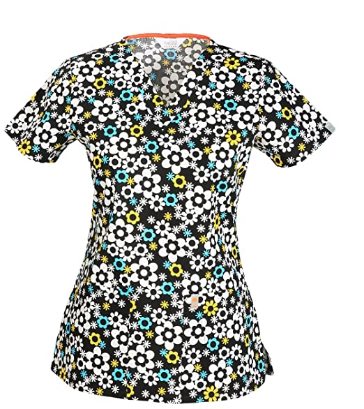 Code Happy Womens Fit and Flare V-Neck Scrub Top