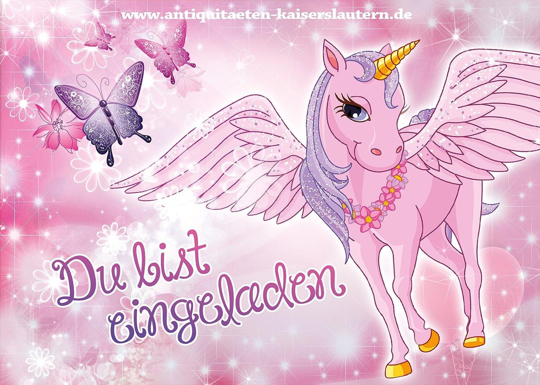 10 Einladungskarten Zum Kindergeburtstag   Einhorn   Pferd   Mädchen    Party   Geburtstag 1: Amazon.de: Bürobedarf U0026 Schreibwaren