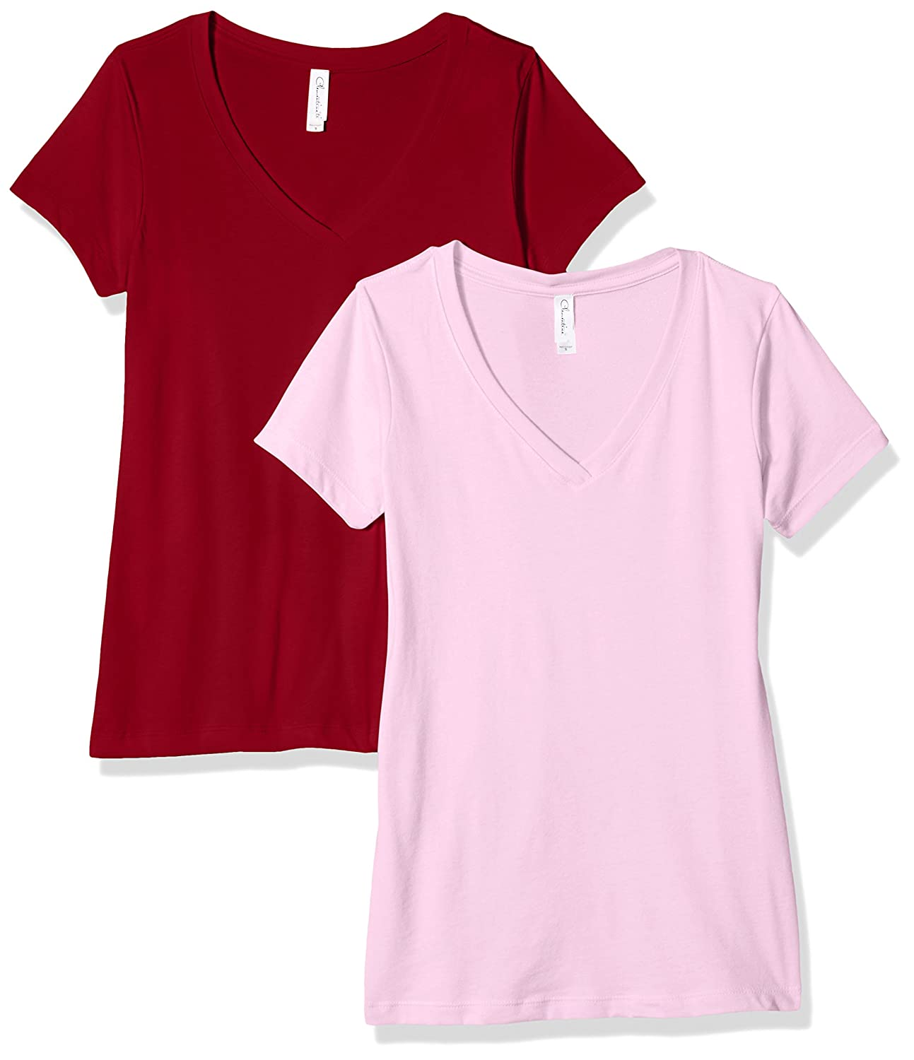 Clementine Apparel 2 Pack Short Sleeve T Shirts Tag Free V Neck Soft Comfort Cotton Blend Plain Undershirt Tees (1540) Clementine Womens Child Code 2-CLM1540