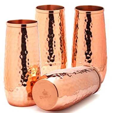 Copper flutes set of 4 - Moscow mule copper flutes - 8.5oz hammered stemless champagne flutes of solid copper - wedding 7th anniversary gift set