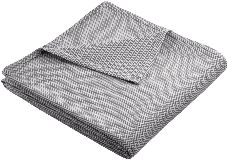 Pinzon Plush Cotton Chevron Blanket - King, Grey