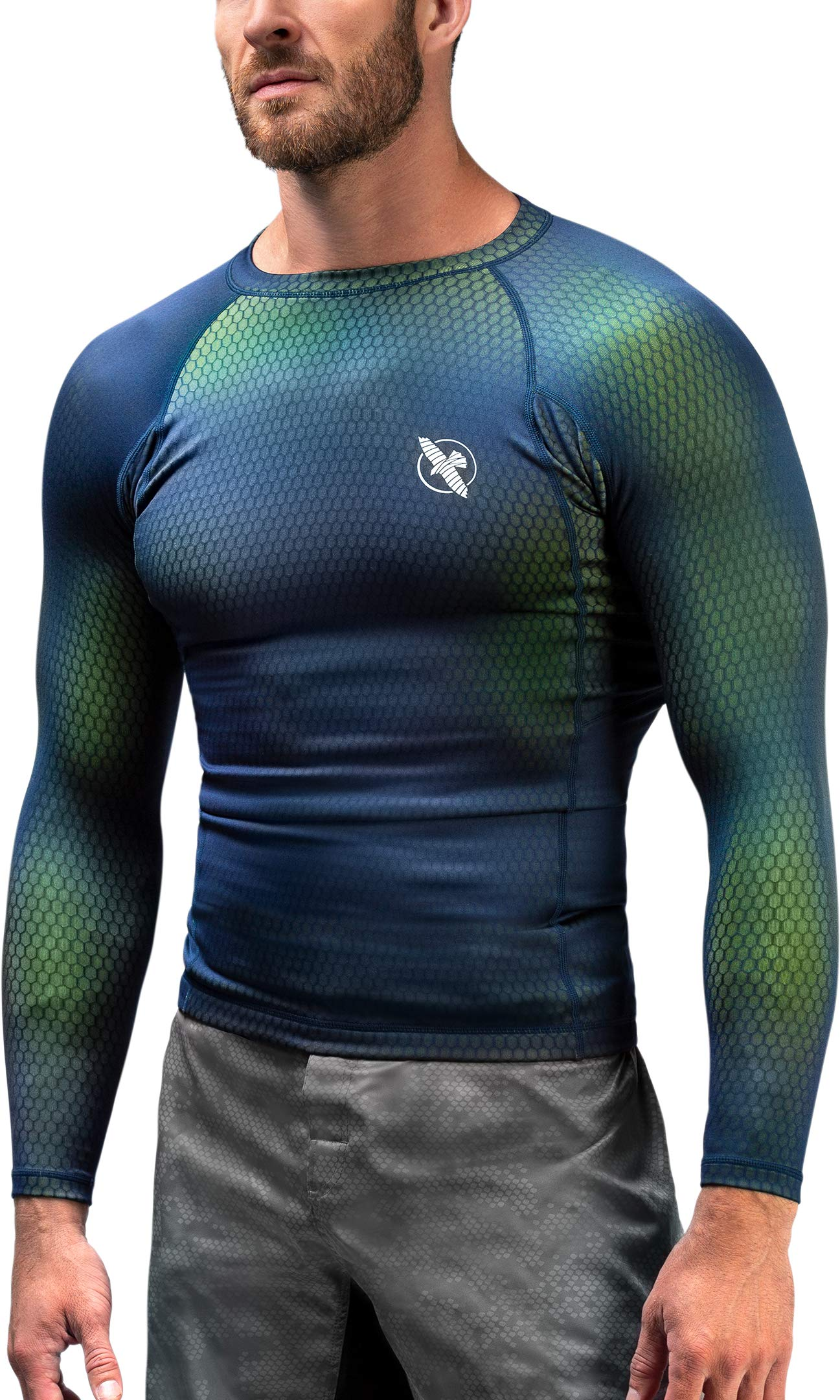 Hayabusa | Men's Fusion Long Sleeve BJJ Rash Guard | Blue/Green | S by Hayabusa