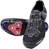 Tommaso Pista Aria Elite Knit Quick Lace Women's Indoor Cycling Ready Cycling Shoe and Bundle with Compatible Cleat, Look Del