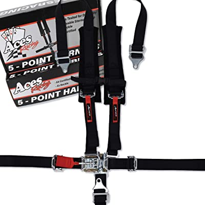 Aces Racing 5 Point Harness with 2 Inch Padding E4 Certified (Black): Automotive