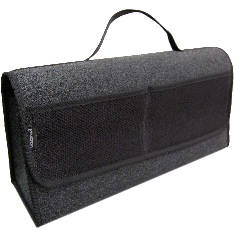 Kofferraumtasche SCHWARZ Auto Tasche Zubeh/örtasche Car Boot Organiser Toolbag RIMERS 50x16x21cm Klettverschluss