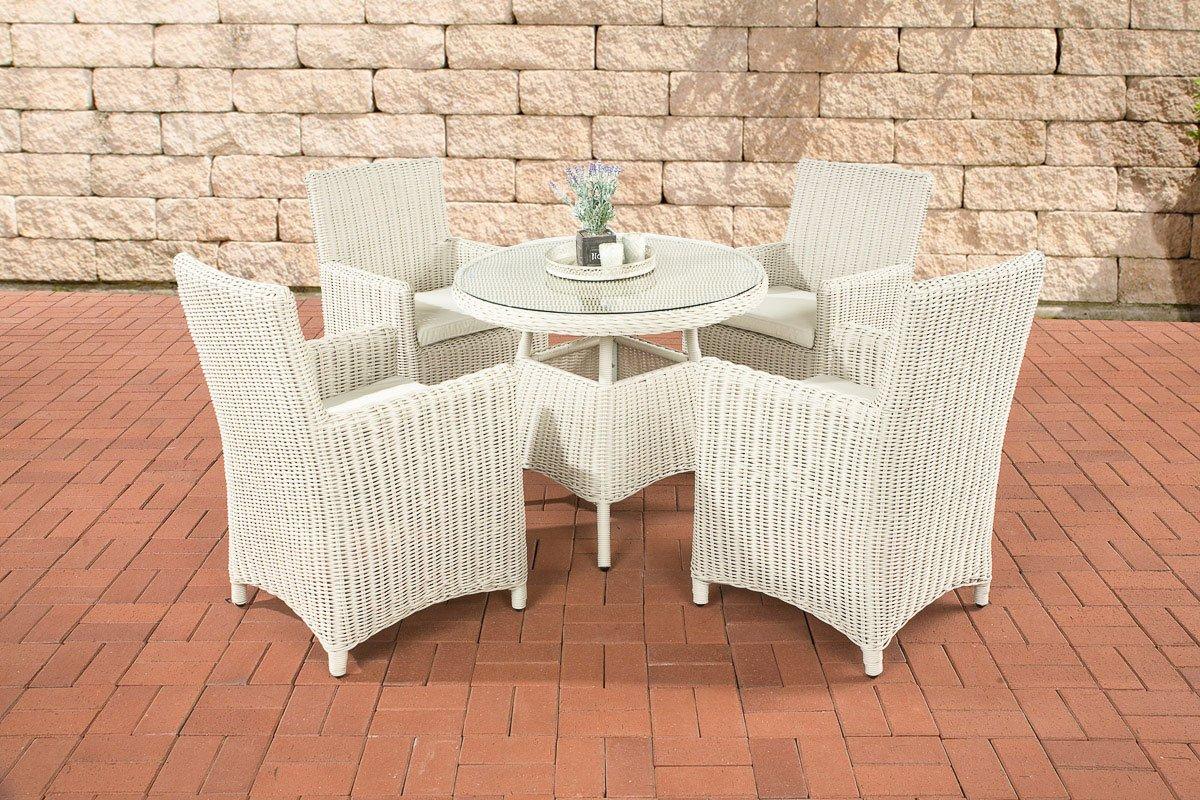 CLP Polyrattan Sitzgruppe CASOLI, perlweiß (4 Stühle mit Tisch 90 x 90 cm) INKL. bequemen Sitzkissen, Premiumqualität: 5 mm Rund-Rattan perlweiß, Bezugfarbe creme
