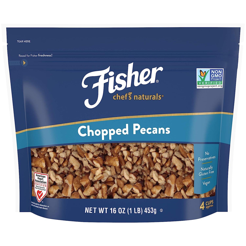 FISHER Chef's Naturals Chopped Pecans, 16 oz, Naturally Gluten Free, No Preservatives, Non-GMO