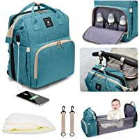 Leogreen Diaper Bag Backpack, 3 in 1 Multi-Functional Waterproof Travel Nappy Bags with USB Charging Port, Large…