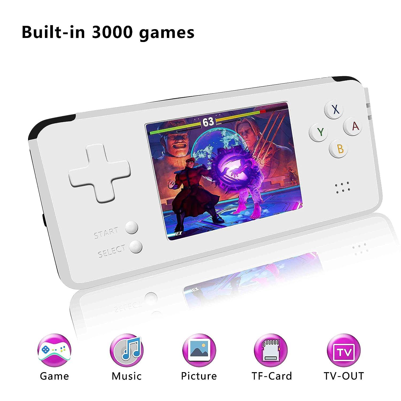 YLM Handheld Spielkonsole, Retro Spielkonsole 3-Zoll-HD-Bildschirm 3000 Classic-Spielkonsole, Entertainment System Portable Video Game Console Großes Geschenk für Kinder (Black) YLMTech-Design