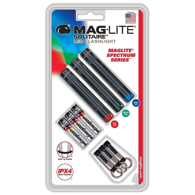 Compact Mag Instrument Inc SJ3ATV6 Maglite LED SPECTRUM Solitaire Flashlight 3PK Black with red LIGHT//Blue LIGHT//Green LIGHT