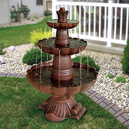 3 Tier Outdoor Garden Fountain In Durable Poly Vinyl Composite   Bronze  Color