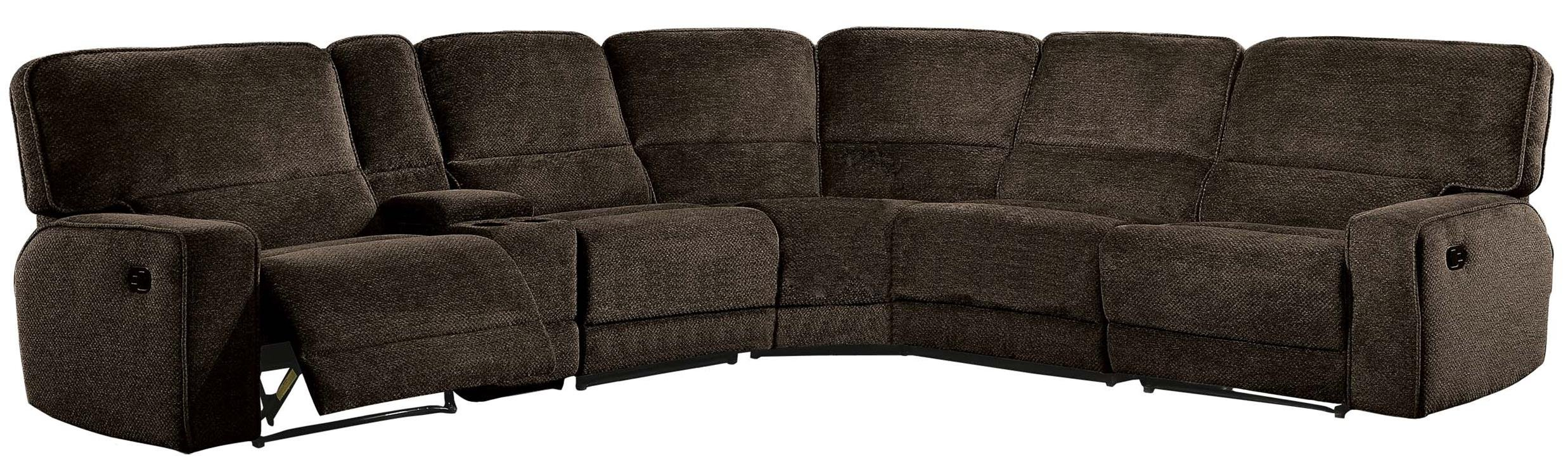 Homelegance Shreveport 6-Piece Sectional with Three Reclining Chairs, and Center Cup holders Console Fabric Chenille, Brown by Homelegance