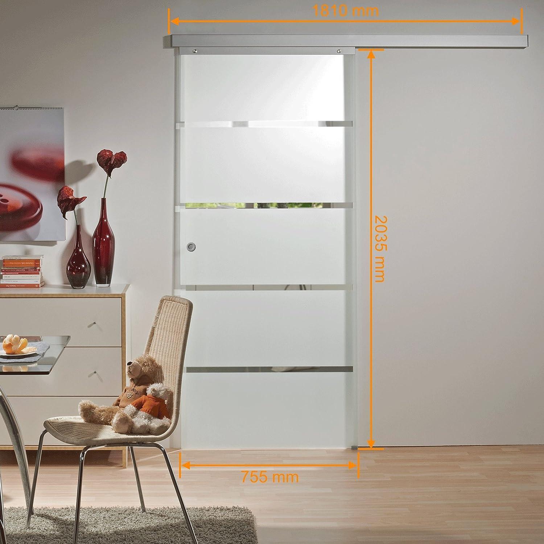 inova Glas-Schiebetür 755 x 2035 mm Blockstreifen Design Alu ...