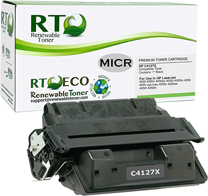 Renewable Toner Compatible MICR Toner Cartridge High Yield Replacement for HP 27X C4127X Laserjet 4000 4050