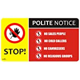 No Cold Calling Door/Window/Letterbox Safety Signs Sticker Self Adhesive 140mm x 80mm cc2