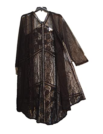 c294088e7f Boutique All Over MESH & LACE Long HI/LO Open-Front Cardigan Jacket ...