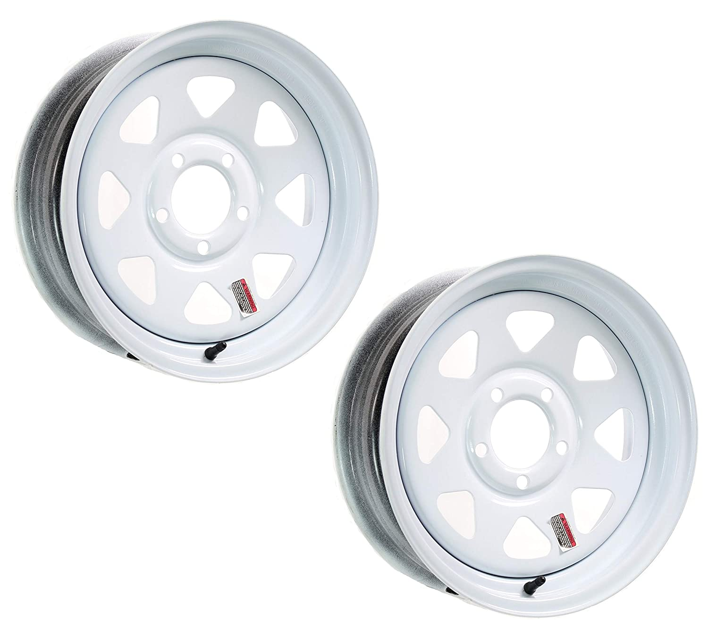 2-Pack Trailer Wheel White Rims 15 x 5 Spoke Style 5 Lug On 4.5 in Center