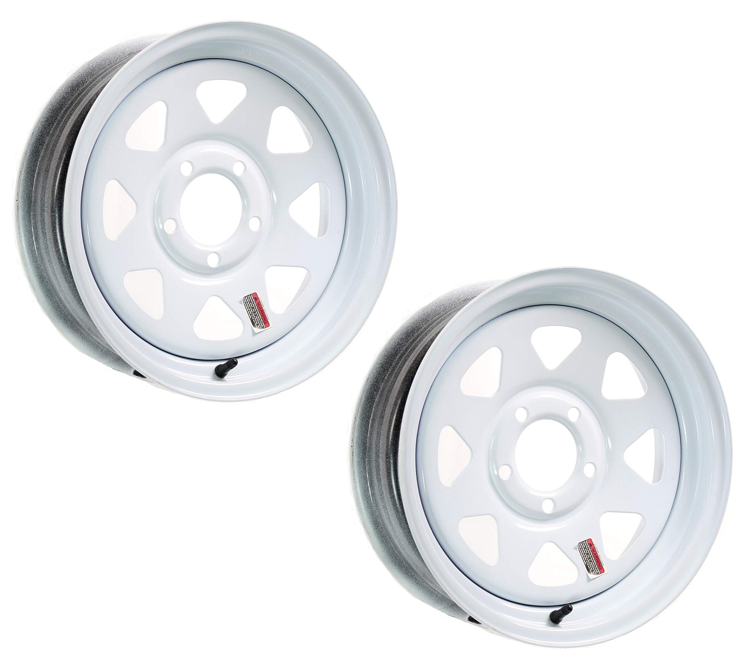 eCustomRim 2-Pack Trailer Wheel White Rims 15 x 5 Spoke Style 5 Lug On 4.5 in. Center