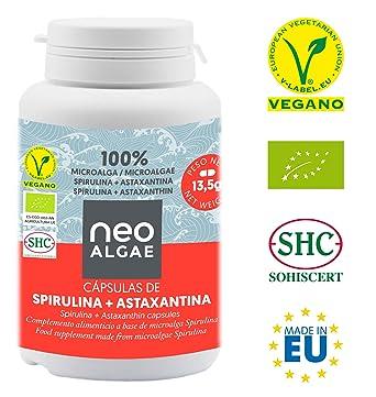 Astaxantina en Cápsulas (5 mg) con Spirulina | Producción 100% Orgánica y Natural