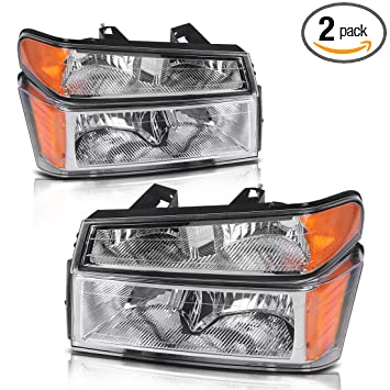 For 2004-2012 Chevy Colorado/GMC Canyon Headlights Replacement Chrome  Housing with Amber Reflector + Bumper Lights (Passenger & Driver Side)