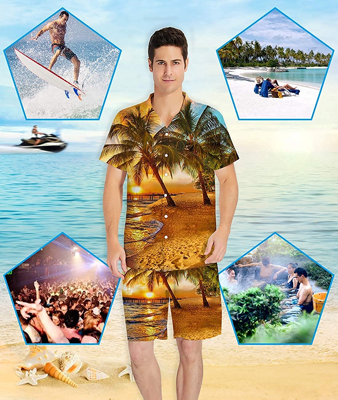 boy Mens Printed Swim Trunks Button Down Short Sleeve Hawaiian Shirts Go ahead