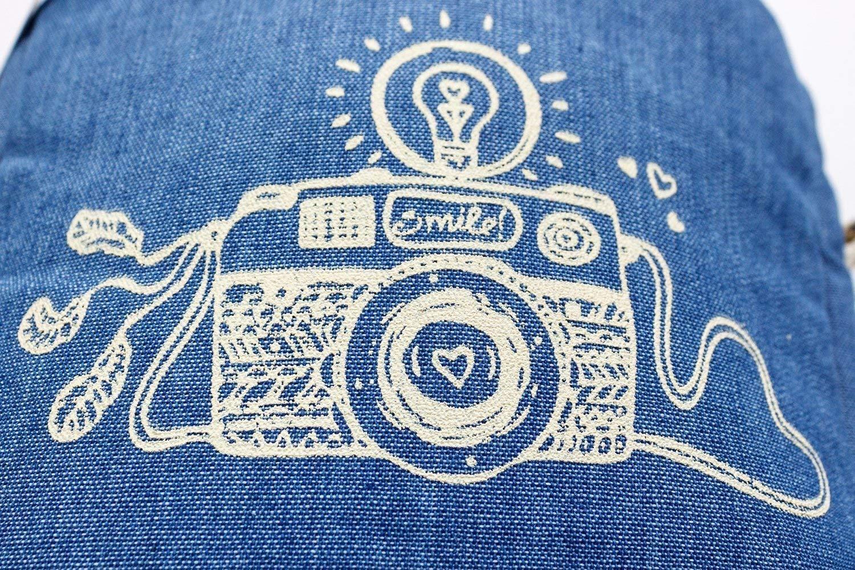 Kameratasche Fototasche Tasche Aufbewahrung Fotoaparat Dslr Slr Spiegelreflex Kamera 18 X 8 X 17 Cm Tragegurt Blau Polsterung Weiße Druck Faire Trade Ringelsuse Handmade