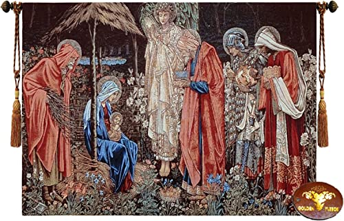 Beautiful Adoration of The Magi Fine Tapestry Jacquard Woven Wall Hanging Art Decor