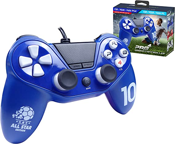 Mando Pro4 fútbol con cable - Accessorio compatible con PS4 / Slim /Pro - PS3 - PC - Azul: Amazon.es: Videojuegos
