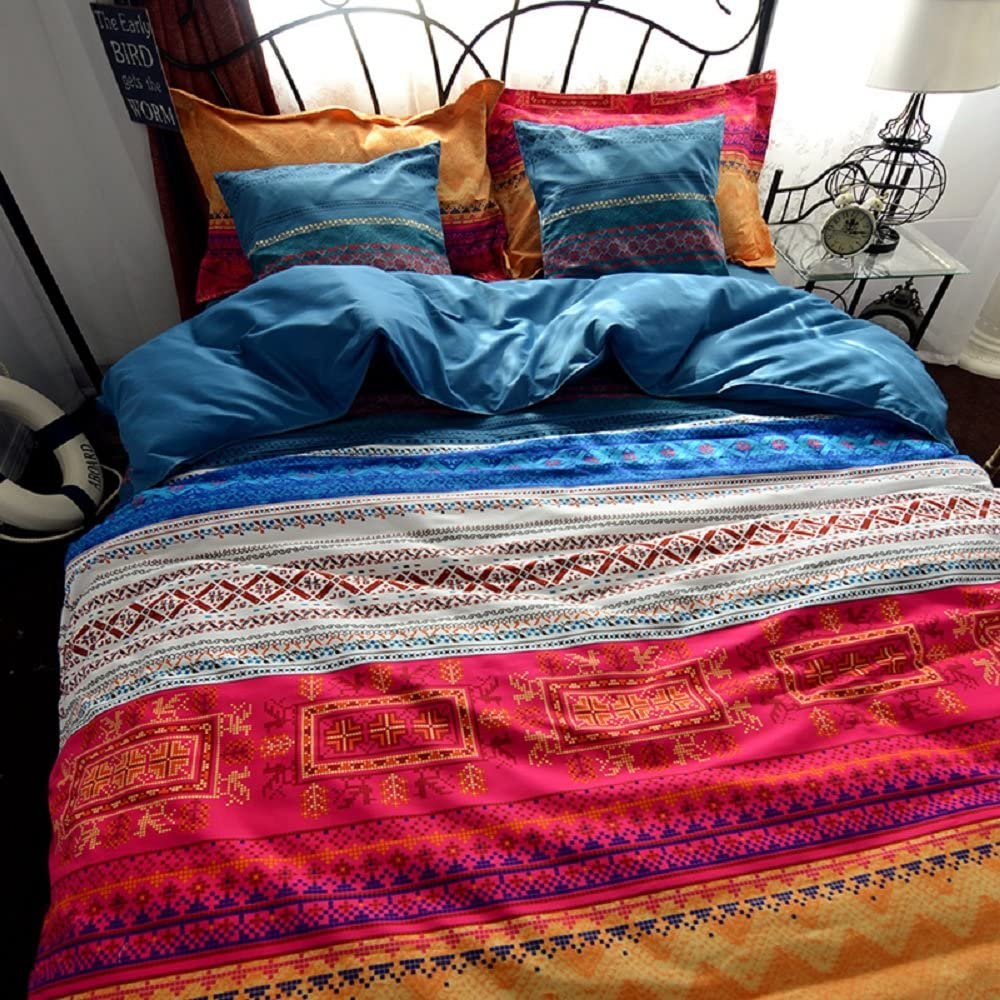 FADFAY Boho Style Duvet Cover Set Colorful Stripe Sheet Sets Bohemia Bedding Set Fitted Sheet Style Brushed Cotton Bedding Sets - 4 Piece (Queen)