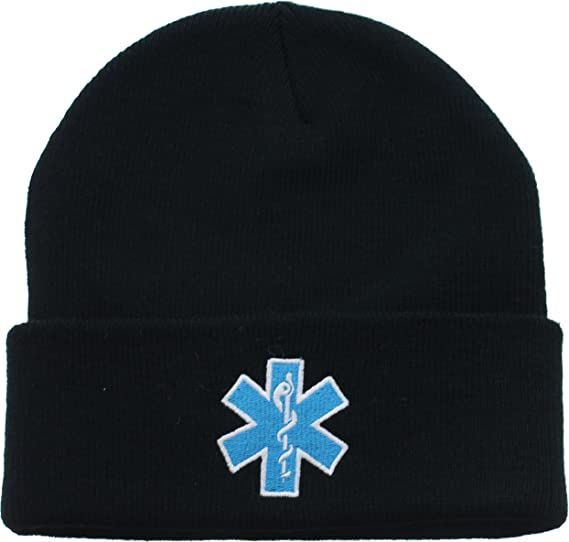 Amazon.com  Black EMS EMT Emergency Medical Star of Life Knit Winter ... 881adf9c9