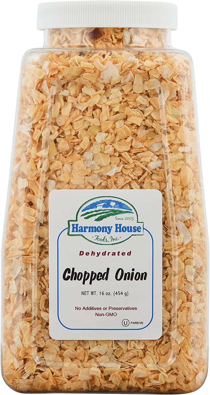 Harmony House Dried Onions, Chopped – Dehydrated Vegetables for Cooking, Camping, Emergency Supply and More