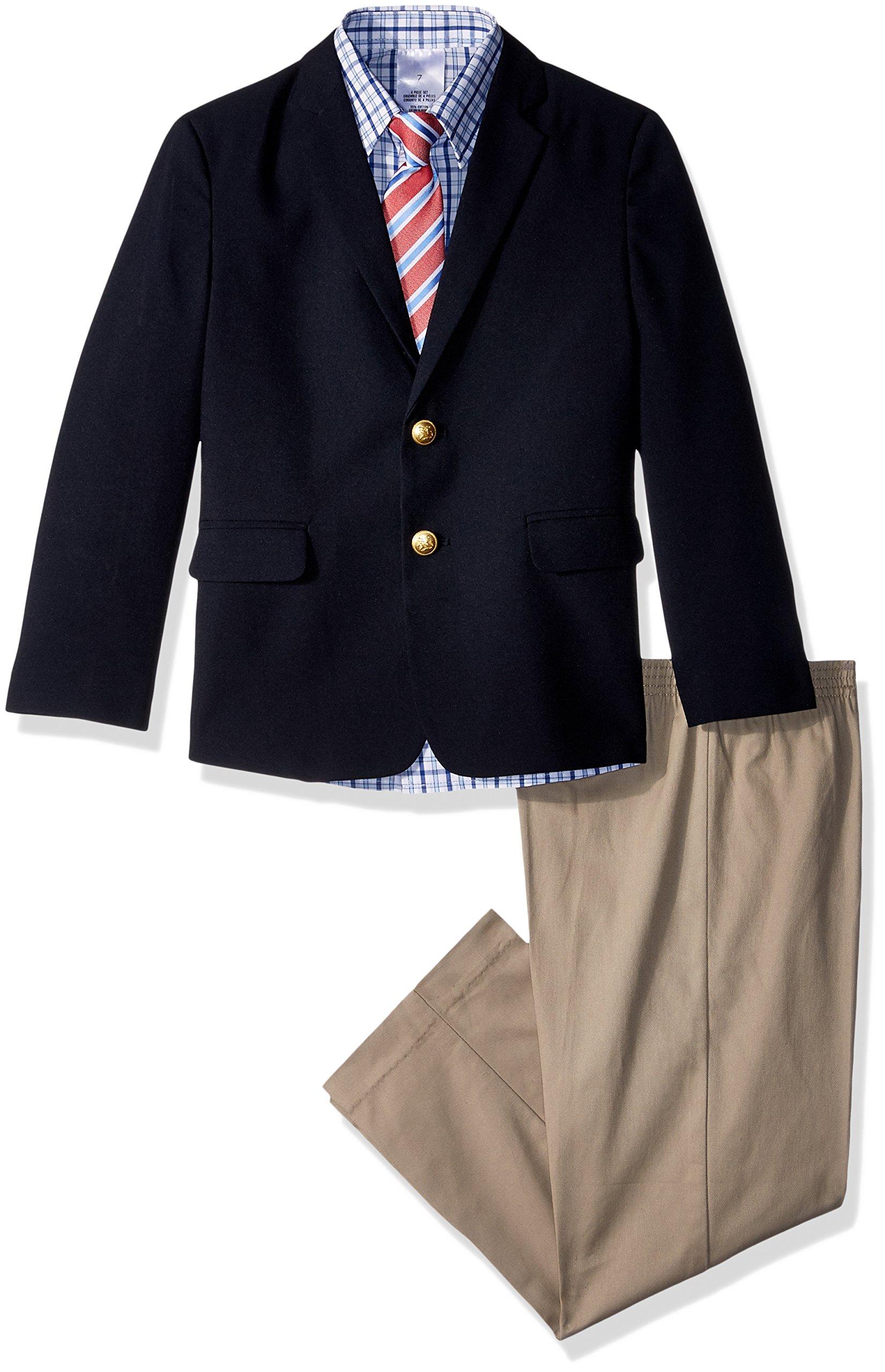 Nautica Boys' 4-Piece Suit Set with Dress Shirt, Tie, Jacket, and Pants, Dresswear Brass Navy, 10