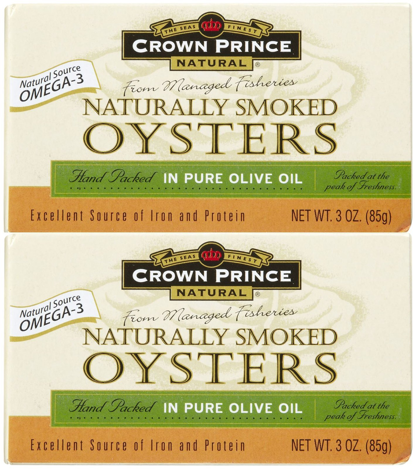 Crown Prince Natural Smoked Oysters In Pure Olive Oil, 3 oz, 3 pk