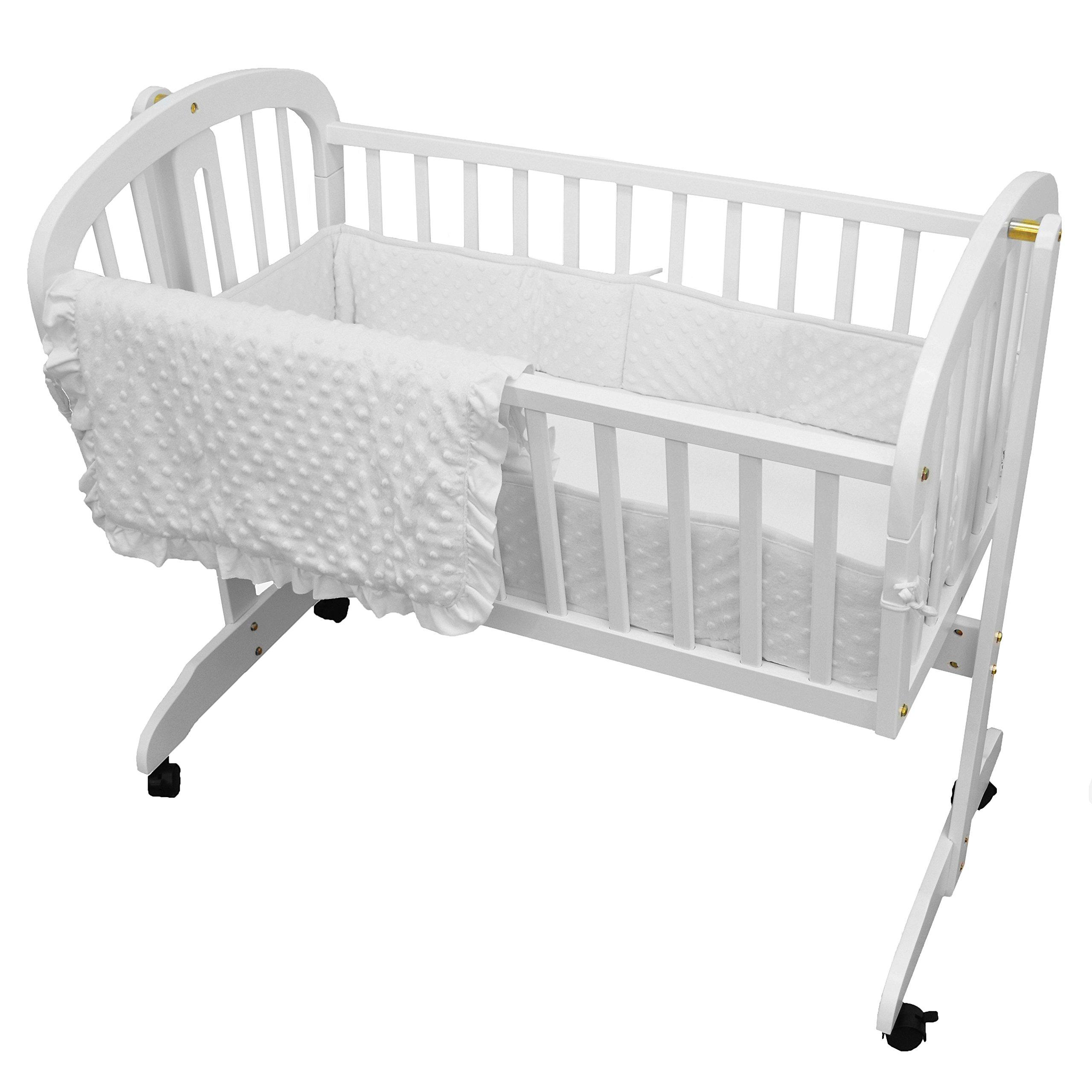American Baby Company Heavenly Soft Minky Dot 3-Piece Cradle Bedding Set, White