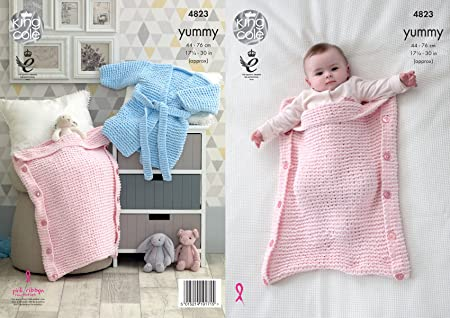 a0bd9b63f6f9 King Cole 4823 Knitting Pattern Baby Robe and Sleeping Bags in King ...