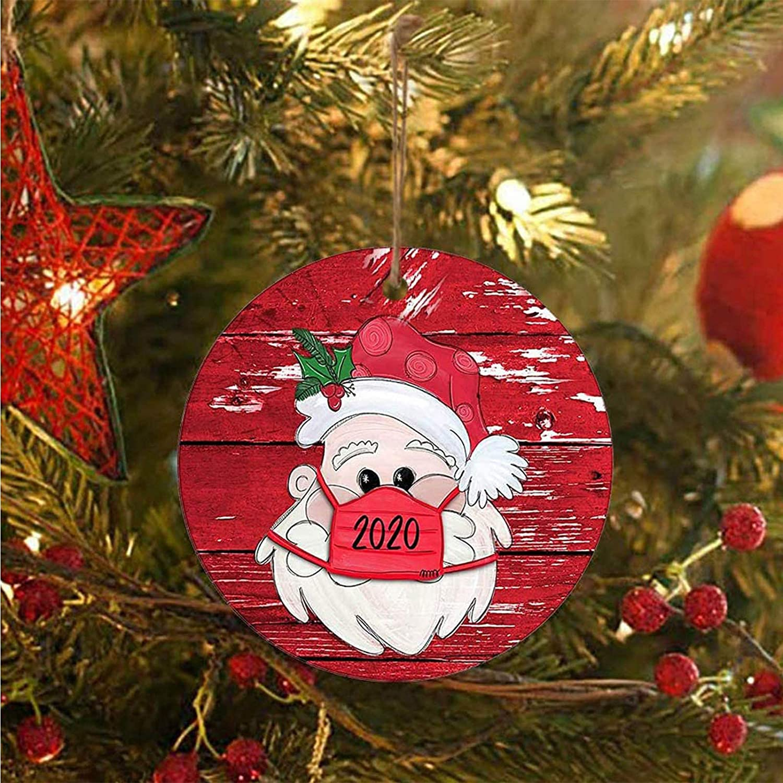 Christmas Tree Ornaments 2020 Santa Wearing Mask Hanging Decor Creative Gift Hot