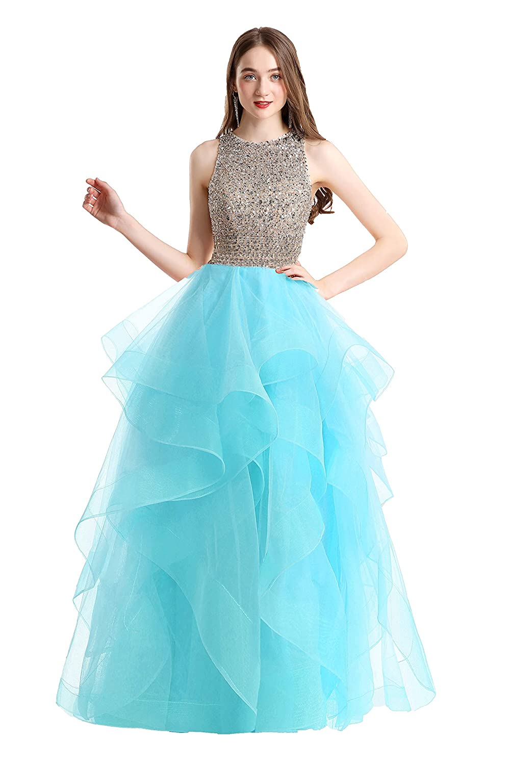 dd087d5549 Amazon.com  Bonnie Gorgeous Beaded Bodice Prom Dresses Long 2 Piece Sexy  Open Back Ball Gowns BS005  Clothing