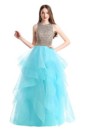 67272deeb2b Bonnie Gorgeous Beaded Bodice Prom Dresses 2018 Long Sexy Open Back Ball  Gowns Ruffled Tulle Formal