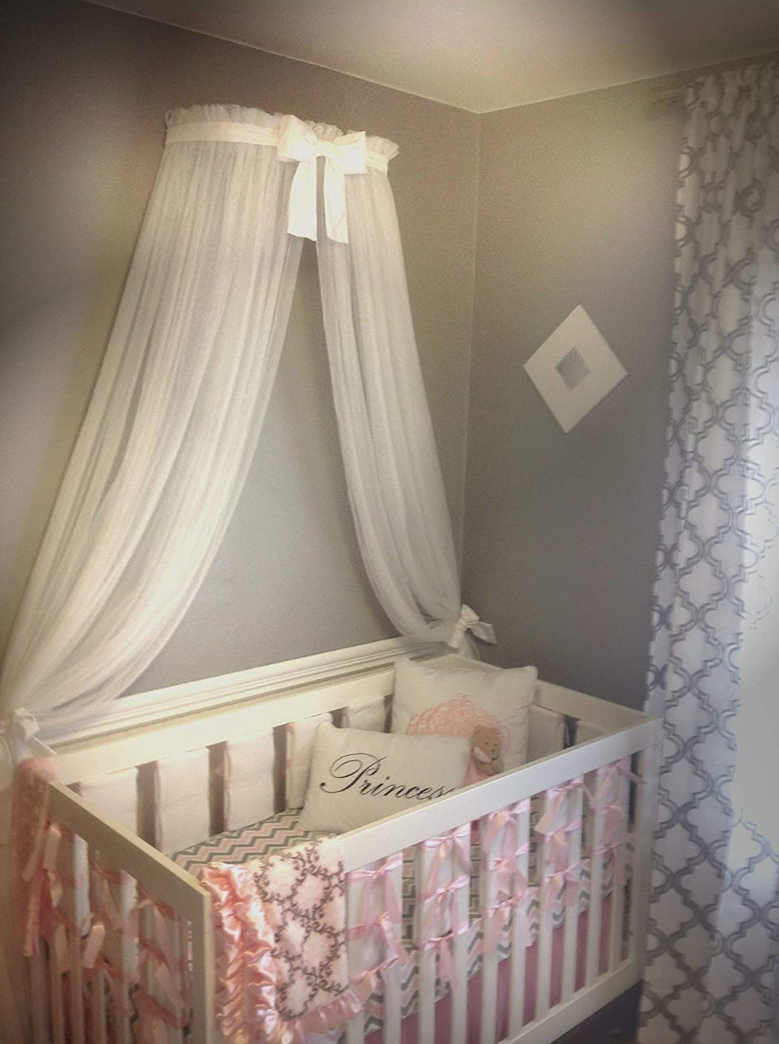 Amazoncom Princess Bed Canopy Crown Free White Sheer Curtain Bow