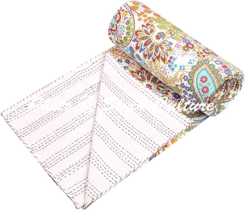 Indian Kantha – Colcha (tamaño individual Niñas Blanco Algodón Paisley mano bordado manta de cama manta para cama de ...