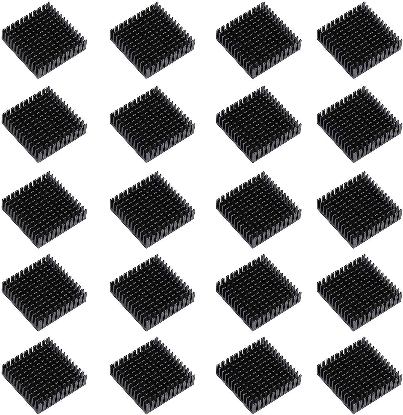 ESUMIC 20PCS 40mm x 40mm x 11mm Black Aluminum Heatsink Cooling Fin for Cooling MOSFET VRam Regulators VRM Stepper Driver