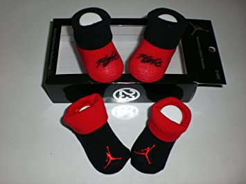 brand new 9e7cc 5c82a Nike Air Jordan Newborn Infant Baby Booties Black and Red W classic Jordan  Air Jumpman