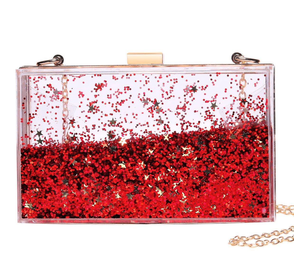 Jevenis Womens Transparent Sequins Chain Clutch Evening Handbag Party Cross-body Purse (Red)
