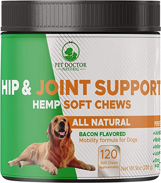 Pet Doctor Natural Hip&Joint Glucosamine Maximum Strength for Dogs with Chondroitin, MSM, Turmeric-Treats Hip Dysplasia, Arthritis, Pain-Made in USA-120 Soft Chews