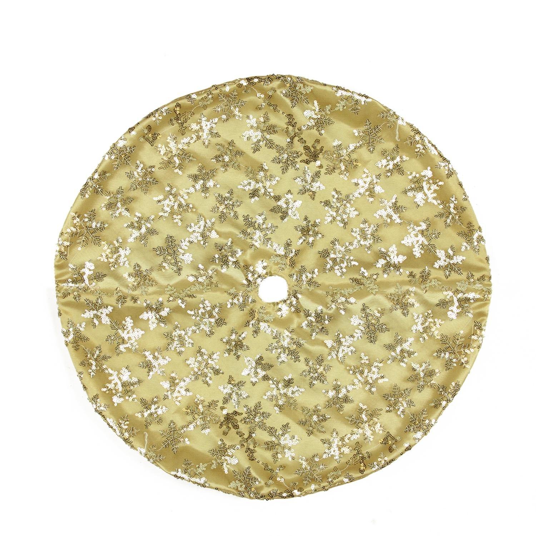 Northlight 20'' Decorative Gold Sequin Snowflake Pattern Mini Christmas Tree Skirt