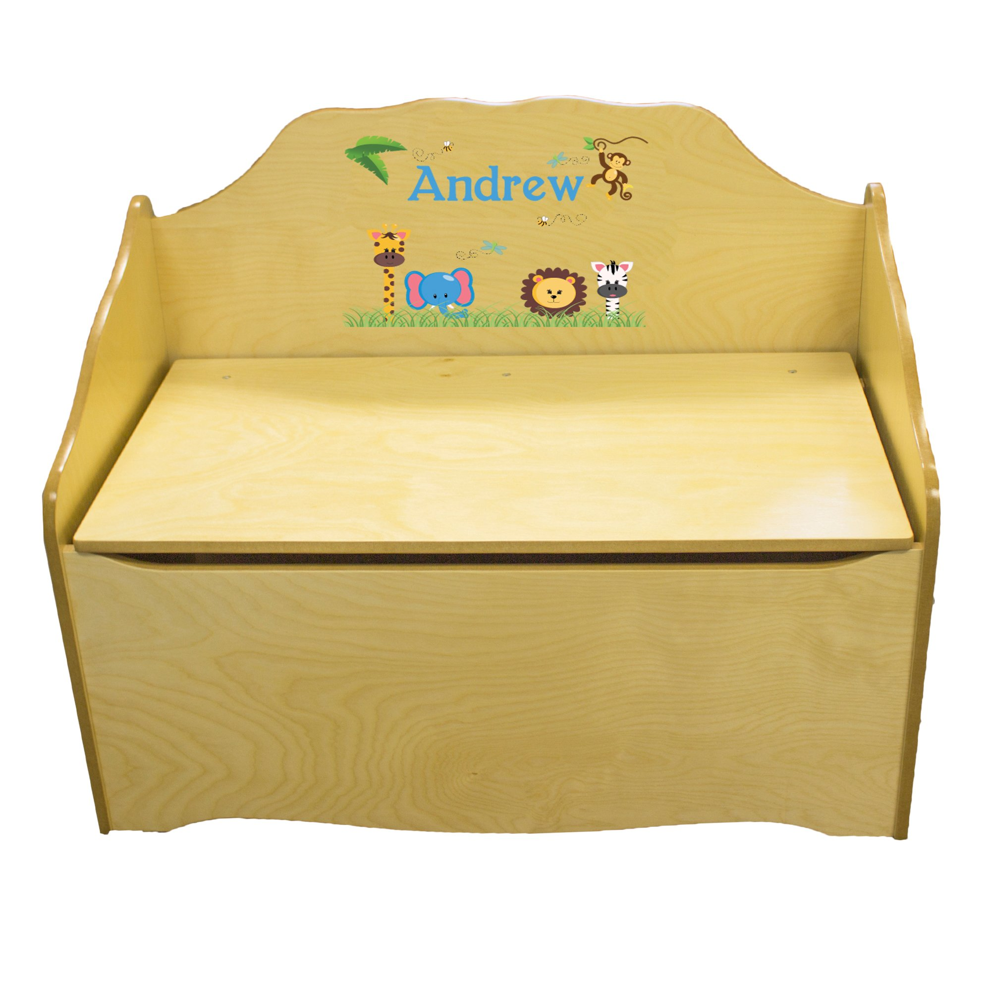 Personalized Jungle Animals Boy Childrens Natural Wooden Toy Chest