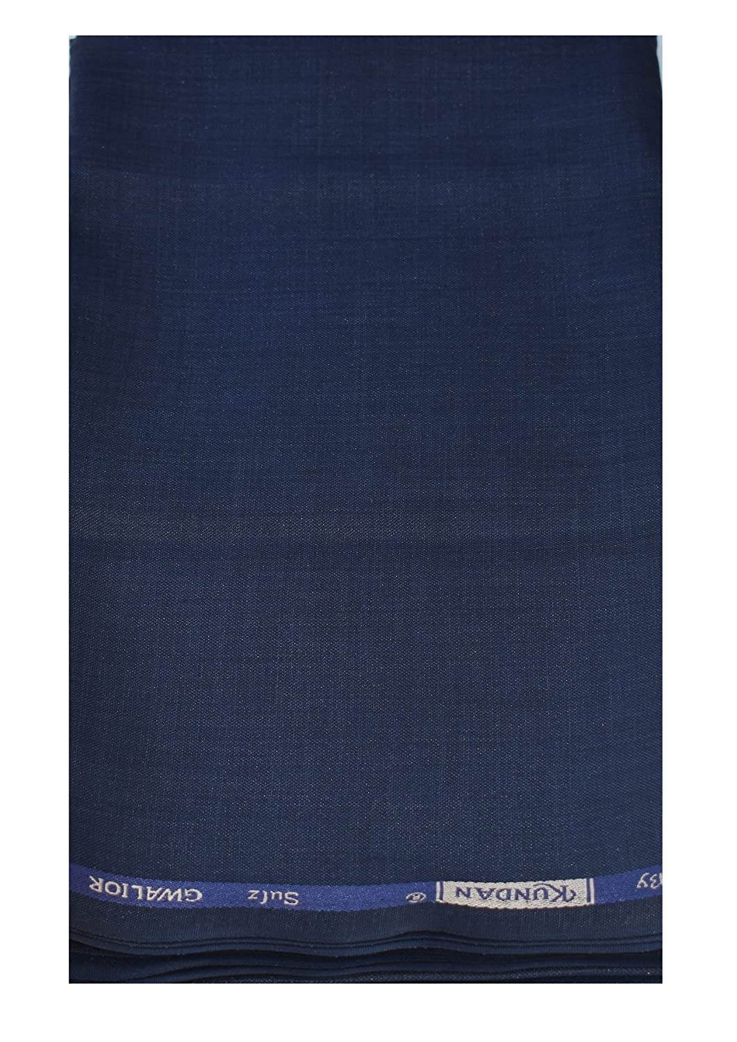KUNDAN SULZ GWALIOR Men's 1.20 m Unstitched Trouser Fabric (Navy Blue, Free Size)