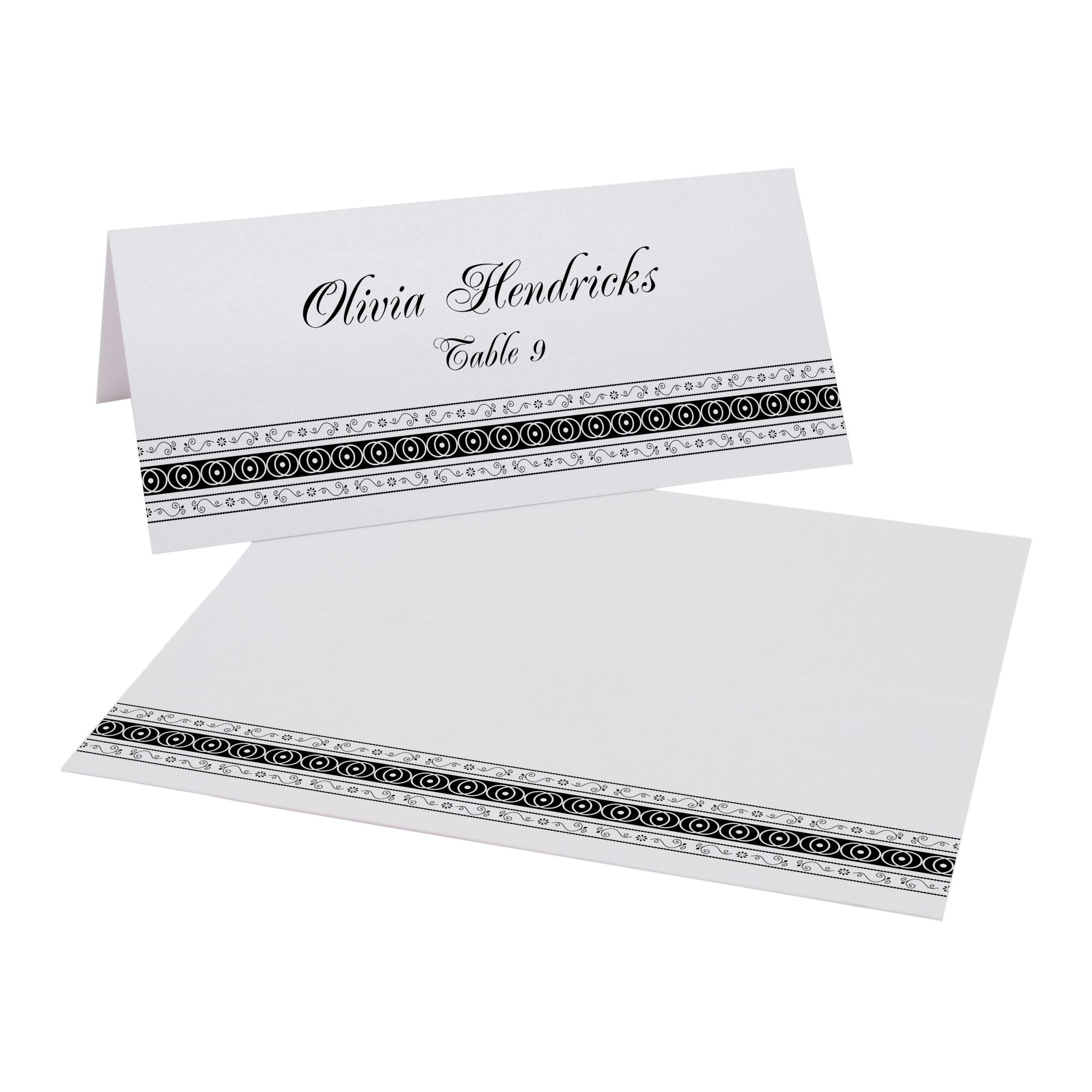 Mumbai Inspired Border Place Cards, Pearl White, Black, Set of 375