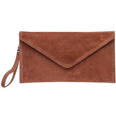 3e11b6ec6c357 CASPAR TL708 Damen Velours Wildleder Envelope Clutch Tasche Abendtasche mit  Handschlaufe