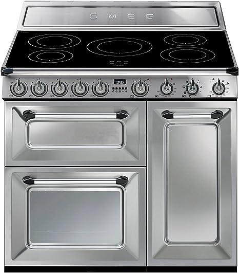 Smeg TR93IX - Cocina (Cocina independiente, Acero inoxidable, Giratorio, Electrónico, Con placa de inducción, Pequeño): Amazon.es: Hogar